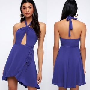 NWT Lulus Royal Blue Halter Wrap Dress